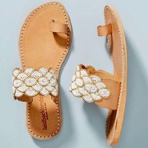 Laidback London Beaded Strap Slide Sandals Size 39